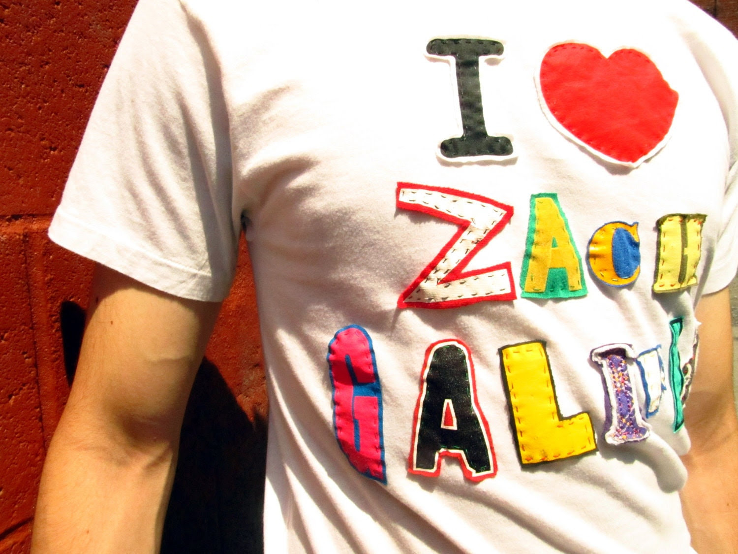 I Heart Zach Galifiankis Upcycled T Shirt
