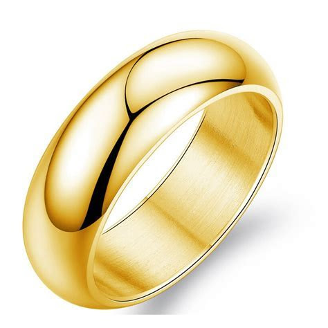 Gold Color Ring Men /Women Gift Wholesale 7MM Wide Classic