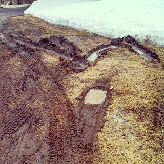 Did I do that?? I guess it was muddier than I thought last night... #4WD #chevy #mud #newengland #winterwontend #snow