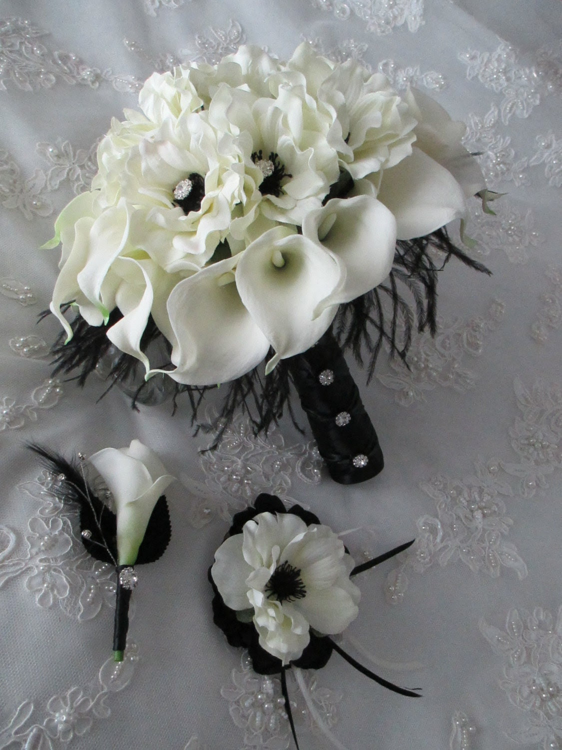 Calla Lillies White Real Touch Silk Anemones Black Ostrich Feathers Bridal Bouquet Hairpiece Boutonniere Trio Set