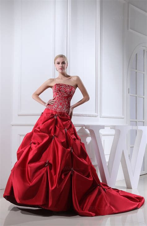 Red Gorgeous Church A line Strapless Satin Cathedral Train
