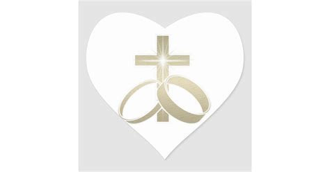 Gold wedding rings and cross art heart sticker   Zazzle.com