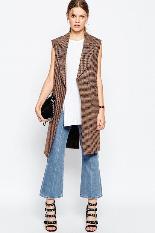 Le Fashion Blog Inexpensive Work Style Classic Sleeveless Coat Side split Sleeveless Top Burgundy Watch Cropped Flares Studded Sandals Via ASOS