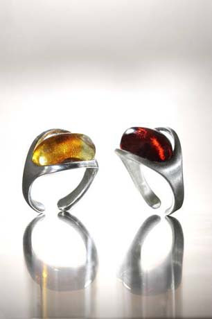Rings in silver with amber from Art7