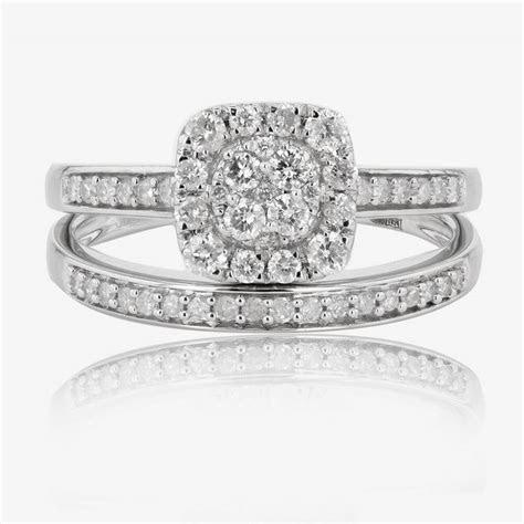 9ct White Gold Diamond Cluster Bridal 2 Ring Set .50ct