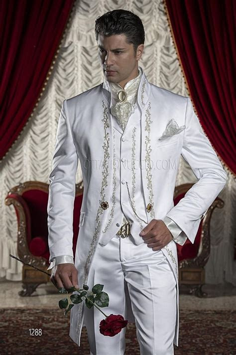 italian gold embroidery white wedding suit  men
