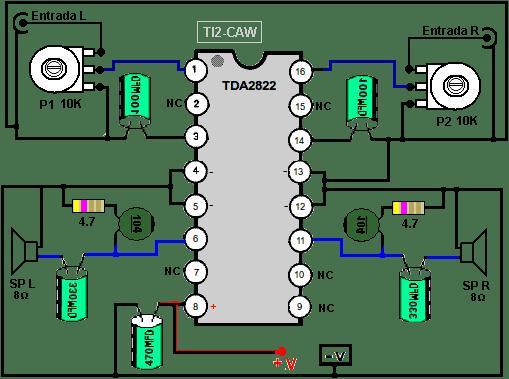 amplificador tda2822 de 16 pines