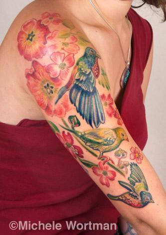 Michele Wortman Tattoos Michele Wortman Lily Bird Halfsleeve