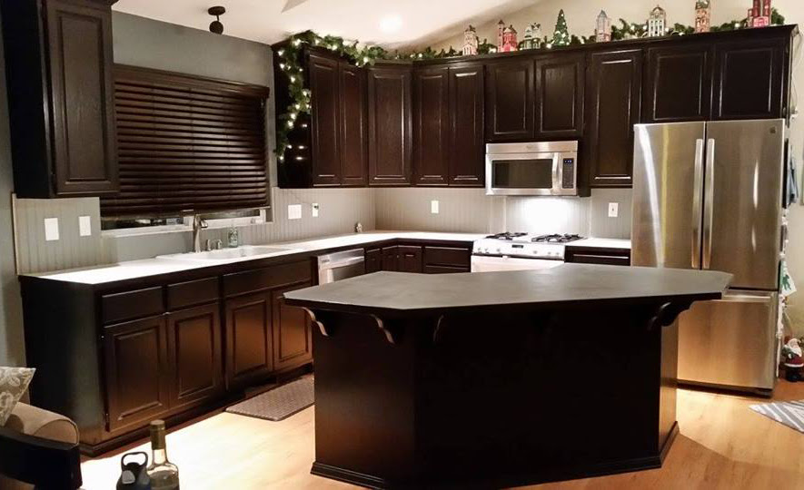 Kitchen Makeover in Java Gel Stain   General Finishes ...