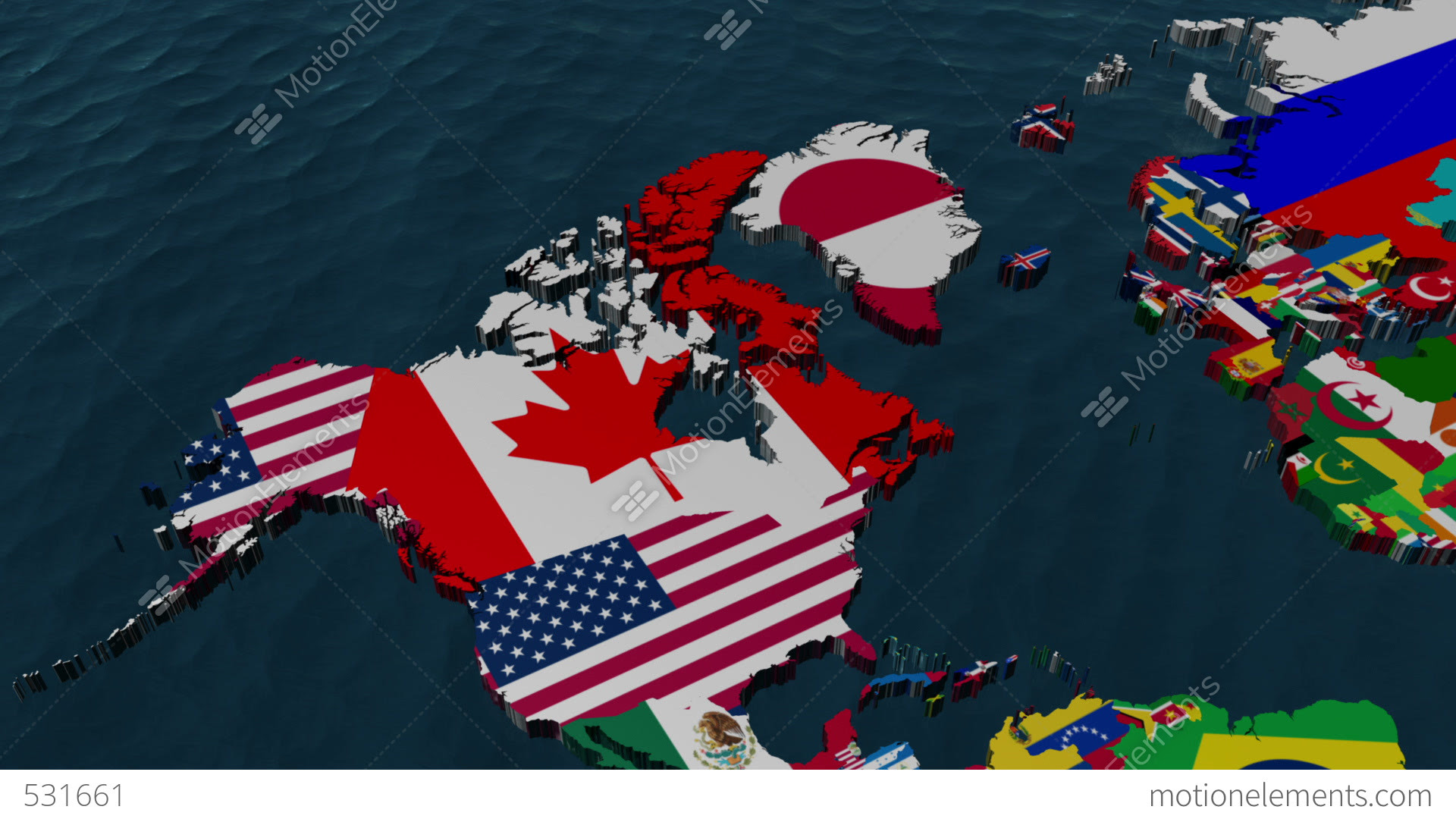 3D Wide Flag World Map Zoom To USA Stock Animation | 531661