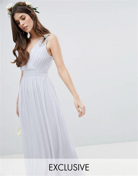 TFNC Wrap Front Maxi Bridesmaid Dress With Embellished