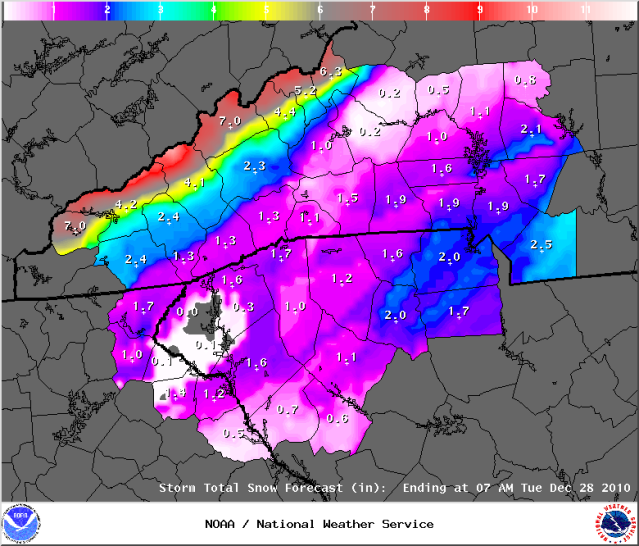 Initial Snow Depth Forecast on Christmas Eve Courtesy of the Greenville Office of the National Weather Service