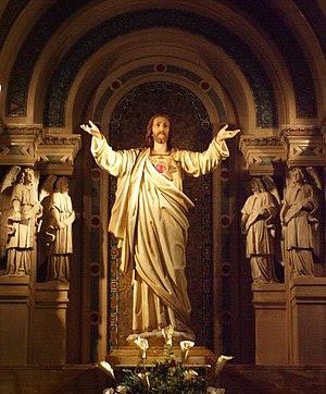 The Sacred Heart Sculpture on the High Altar o...