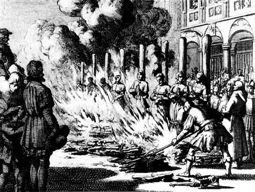 The Burning Times - an engraving by Jan Luyken of women being burned as witches or heretics