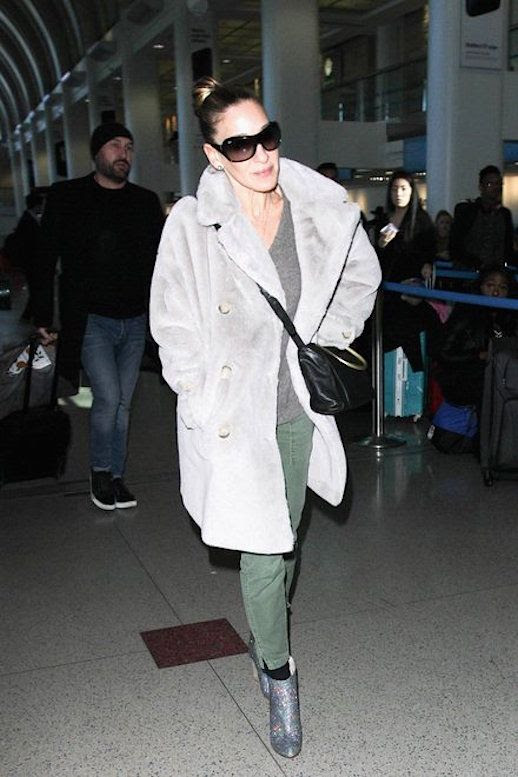 Le Fashion Blog Sarah Jessica Parker Gray Fur Coat Cargo Pants Sparkling Ankle Boots Via Vogue