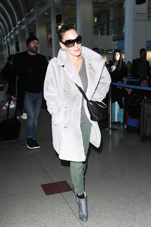 Le Fashion Blog Sarah Jessica Parker Gray Fur Coat Cargo Pants Sparkling Ankle Boots Via Vogue