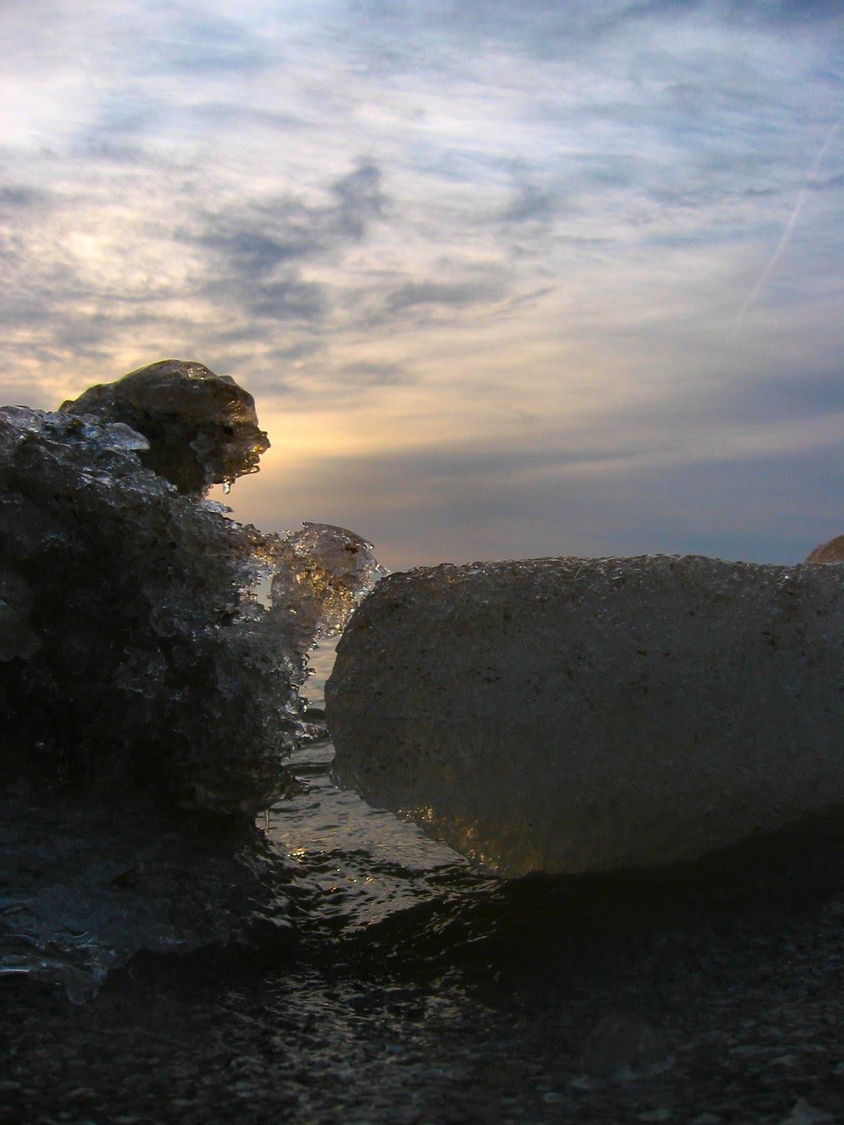 Natural Lake Michigan Ice Sculptures at Sunrise
