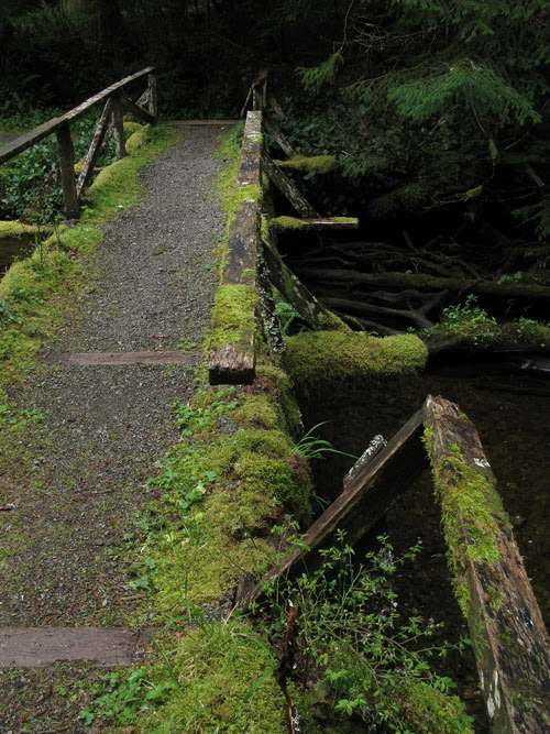 broken railing on bridge over Son-i-Hat Creek, Kasaan, Alaska