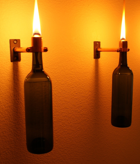 Set of 2 Copper INDOOR Green Wine Bottle Lanterns-Hanging Lantern, Hurricane Lantern, Indoor Lighting, Oil lamp, Wine Bottle Tiki Torch
