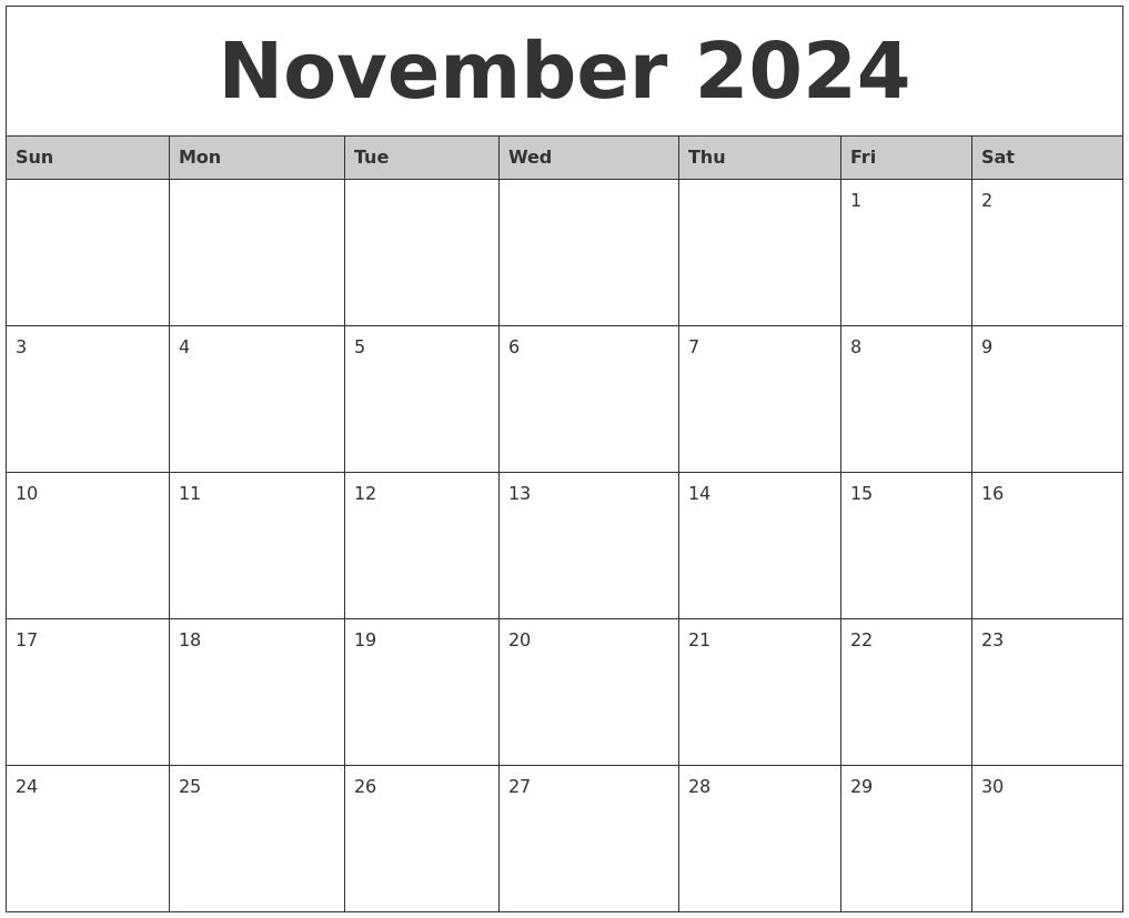 november 2024 monthly calendar printable