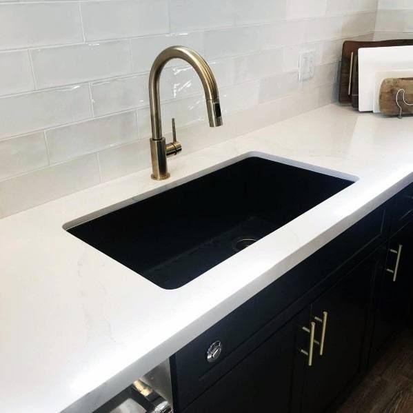 Gold Faucet Kitchen Dark Cabinets