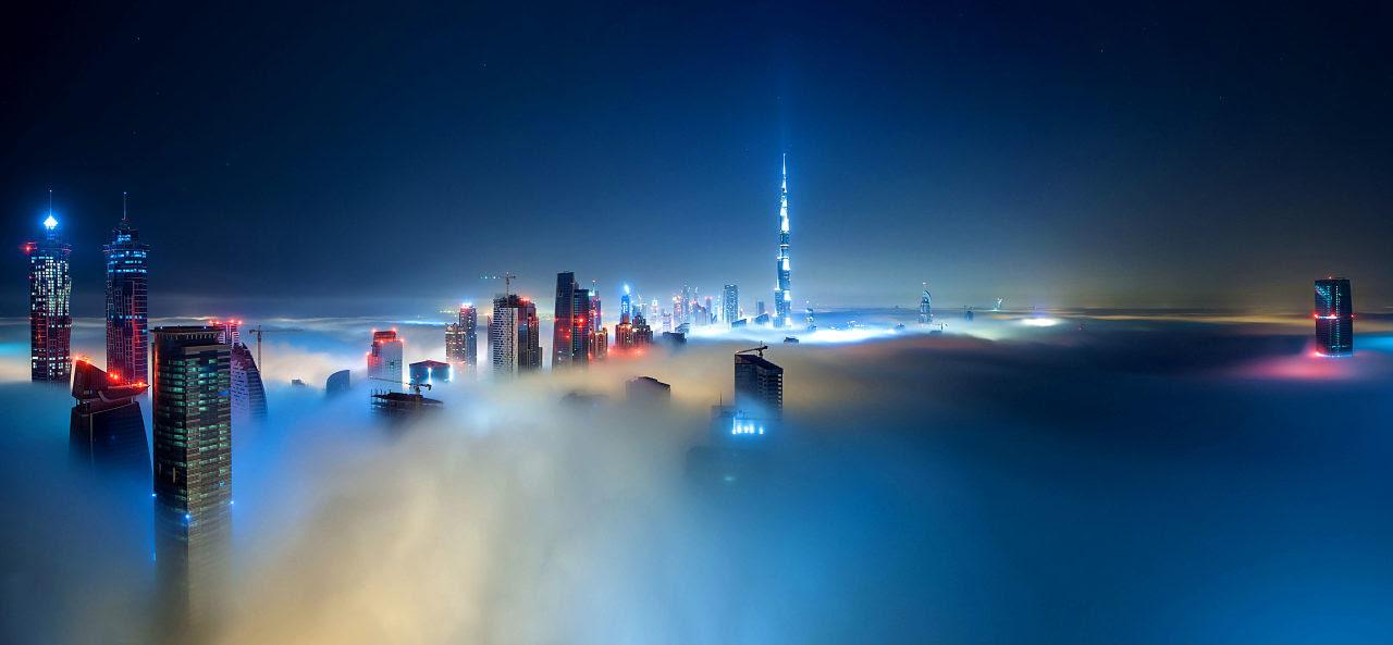 Dubai skyline in the evening in fog