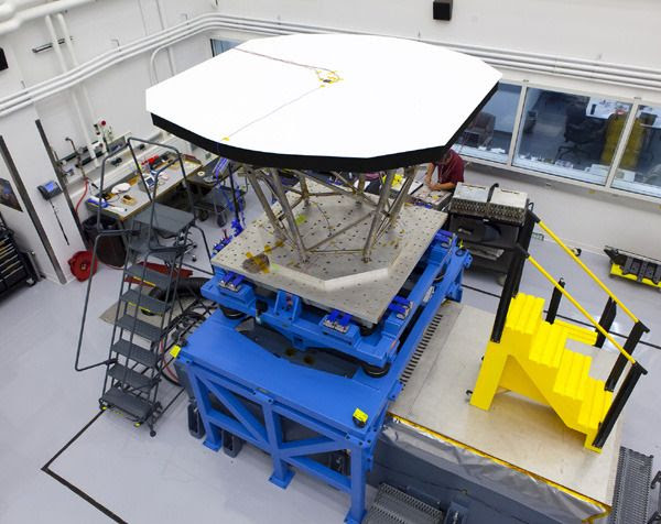 An engineering model of the heat shield that will protect NASA's Solar Probe Plus spacecraft during its exploration of the sun's outer atmosphere.