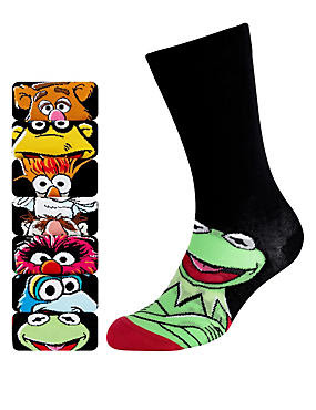 Black Mix 7 Pairs of Cotton Rich Assorted Muppets Socks
