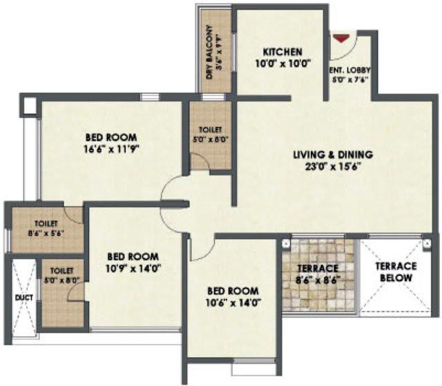 Ultima  3 BHK Flat 1,223 sq.ft. carpet + 74 terrace in Pride Platiunm near Pancard Club Baner Pune 411 015