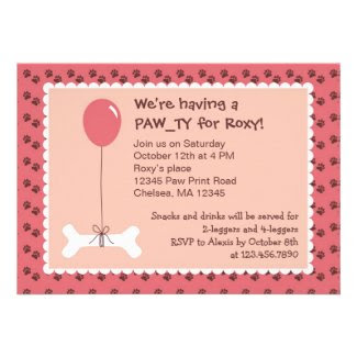 Bone and Balloon Dog Birthday Girl Party Invitatio Custom Invite
