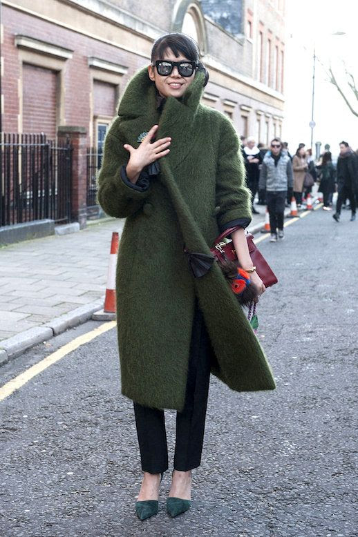 Le Fashion Blog Ways To Wear Green Jacket Fall Winter Street Style Mirrored Sunglasses Mohair Coat Pants Suede Pointed Heels Via Pop Sugar
