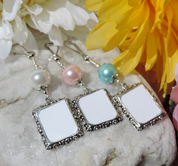 Wedding Bouquet Photo Charm Memorial Frame Charm With Blue Pink Or