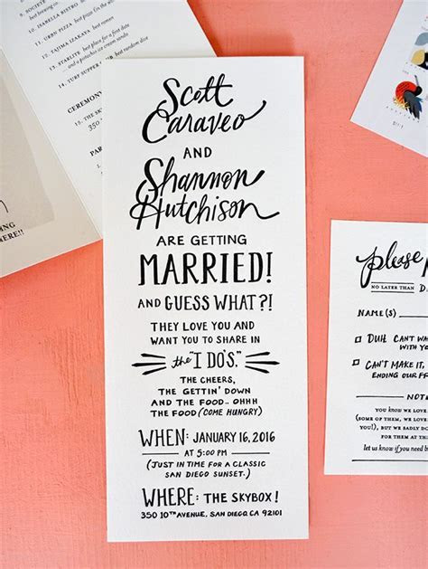 Hand Lettered San Diego Wedding Invitations   Wedding