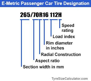 Light Truck Tire Designations Examples