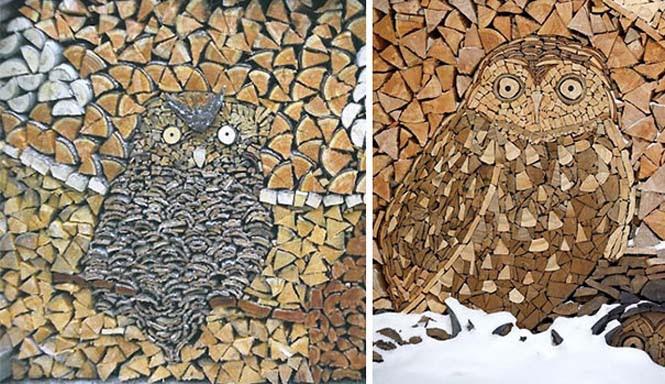 Τέχνη με στοίβες από ξύλα (4)