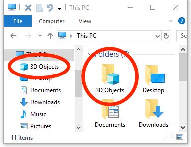 Cómo quitar la carpeta de objetos 3D de Windows 10