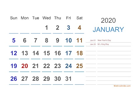 2020 Excel Calendar Templates