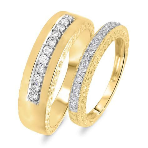1 1 2 CT. T.W. Diamond His And Hers Wedding Rings 14K