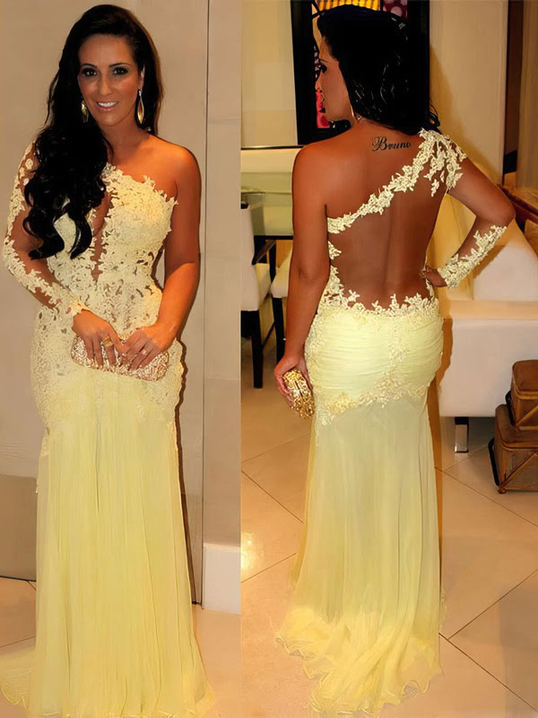 Trumpet/Mermaid One Shoulder Chiffon Satin Tulle Sweep Train Appliques Lace Prom Dresses #02016068
