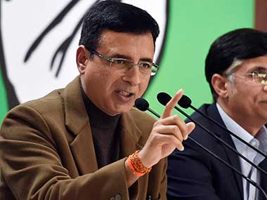 FIle image of Congress leader Randeep Surjewala. PTI