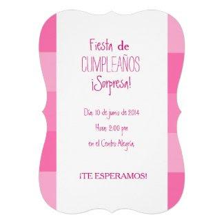 Invitación - Fiesta Sorpresa de Cumpleaños - Rosa Invitación Personalizada
