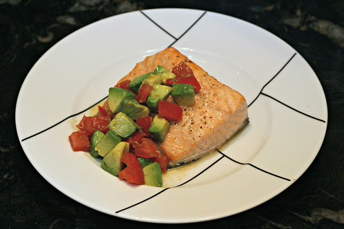 Salmon with Avocado and Tomato Salsa