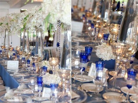 Cobalt blue and silver wedding reception I'm thinking