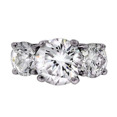 GIA Platinum 5 Carat Diamond Three Stone Engagement Ring