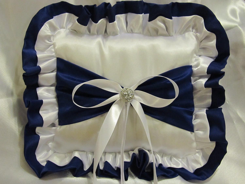 Ring Bearer Pillow - White and Royal Blue