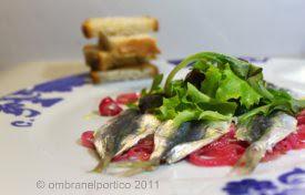 Sardines bleues marinées escabèche, pain frotté aillé...