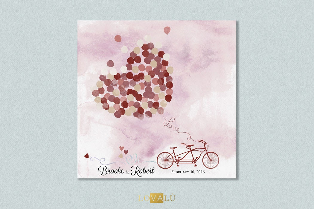 Wedding guest book with tandem. Custom Wedding Guestbook Alternative Country with ballons. Wedding Print Guest Book marsala