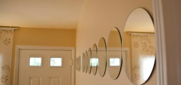 dash dot dotty dashdotdotty house tour interiors tan macadamia nut circular mirrors entry curtain panels