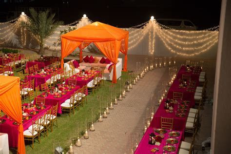 Arabian wedding setup, lounge tents and dining tables