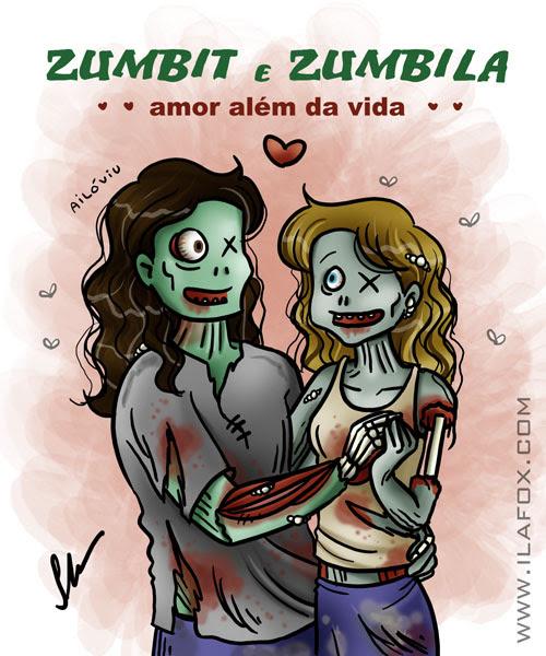 Amor entre zumbis, zumbit e zumbila, amor além da vida ilustração by ila fox